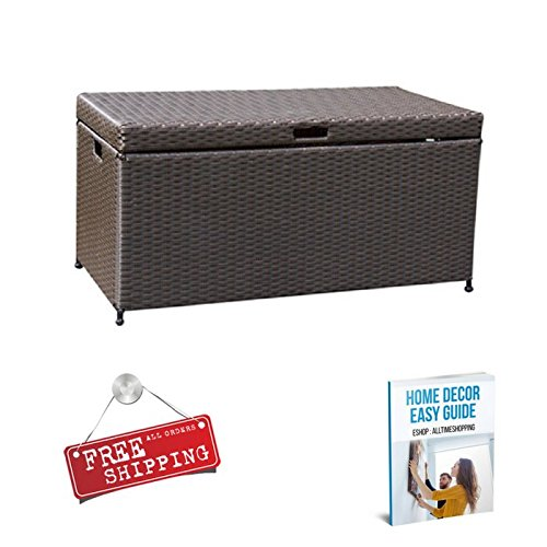 Deck Storage Box Waterproof Container Patio Garden Storage Unit Large Wicker Espresso & eBook by AllTim3Shopping by ATS