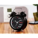 Classic Style Dual Bell Design Analog Desk & Table Decoration Alarm Clock with English Numerals - Black