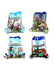 ZUOLA Minecraft Backpacks Kids School Bags Outdoor Home Toy Organizer Party Supplies (Pack of 4)