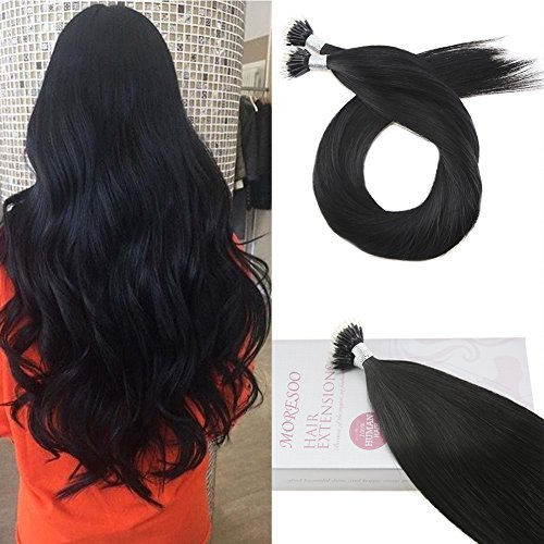 Moresoo 20 Inch Remy Human Hair Extensions Nano Hair Extensions Jet Black Color #1 Brazilian Hair Micro Nano Ring Hair Extensions Human Hair 50Strands/40 Grams
