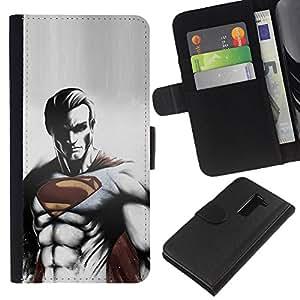 LG G2 D800 D802 D802TA D803 VS980 LS980 , la tarjeta de Crédito Slots PU Funda de cuero Monedero caso cubierta de piel (Cool Dark Superhero Super Man)