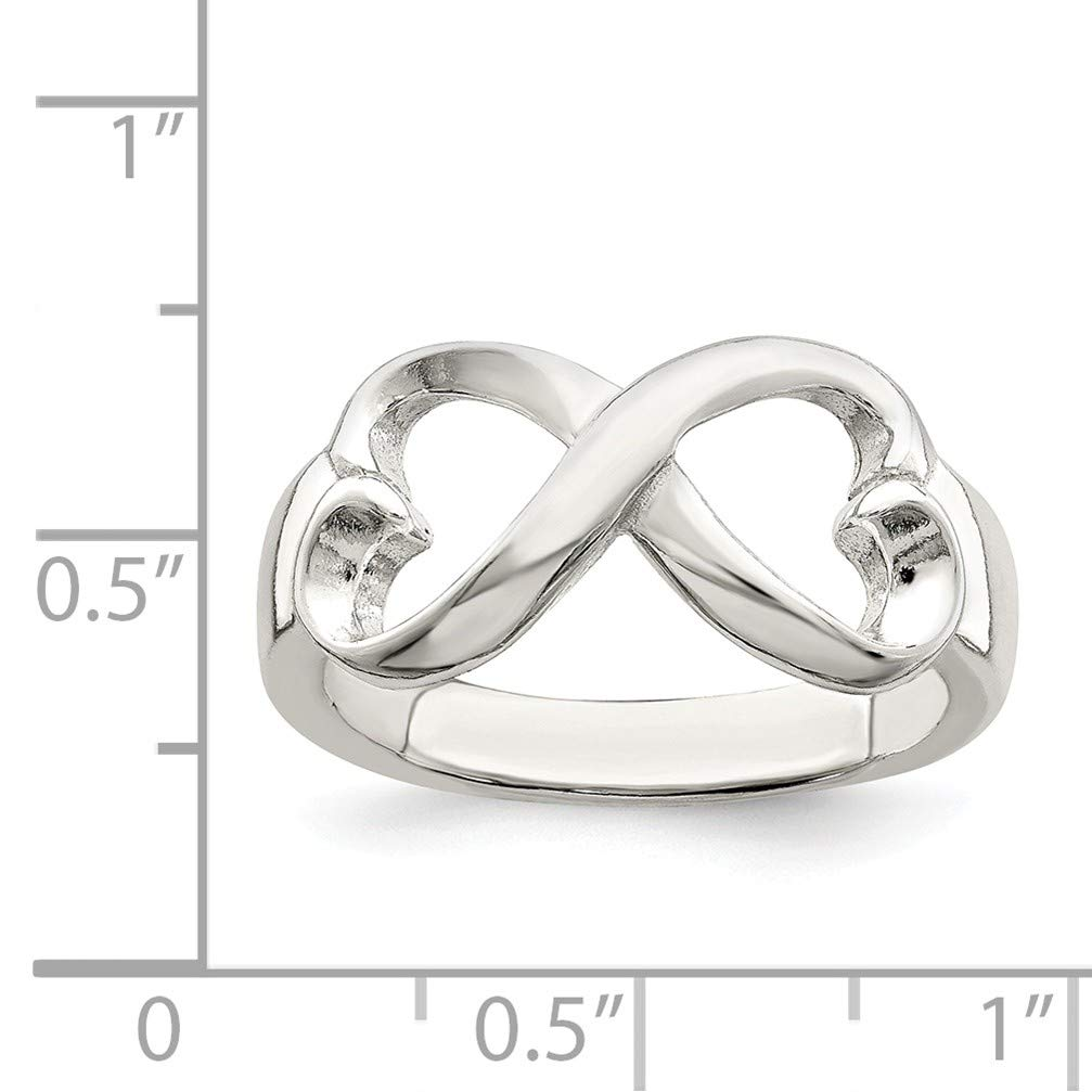 Size 7 Bonyak Jewelry Sterling Silver Polished Heart Infinity Ring