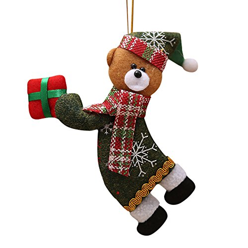 Christmas Decorations,2018 New Christmas Ornaments Gift Cute Santa Claus Snowman Tree Toy Doll Hang Decorations (D)