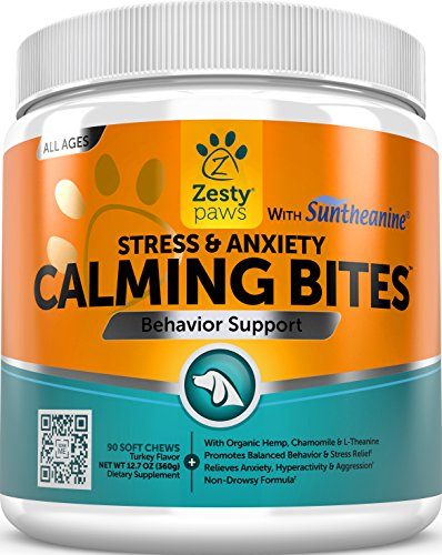 Calming Soft Chews for Dogs - Anxiety Composure Aid Treats With Suntheanine - Organic Hemp Oil & Valerian Root + L Tryptophan for Dog Stress Relief - Great for Storms + Barking & Chewing - 90 Count Relief Dog