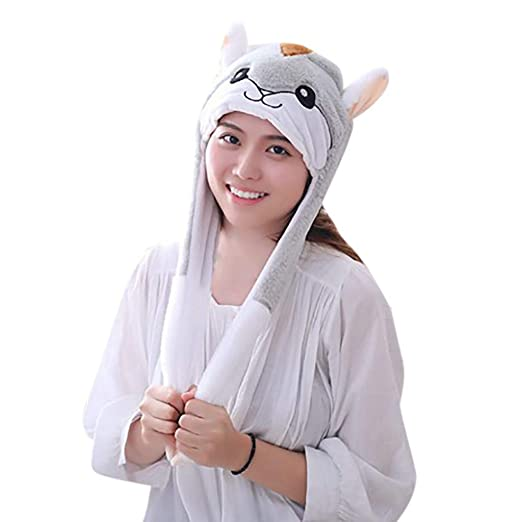 bd0fd4ed708 Animal Hat Plush Animal Hat Moving Cute Ears Move Up Cap Soft Warm Girl Kids
