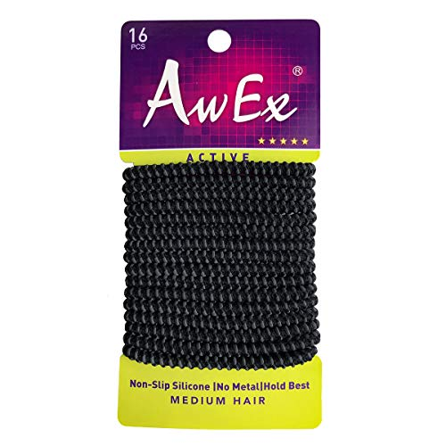 AwEx No Slip Black Hair Ties, 16 PCS,4 mm Size Hair Elastics,Active Ponytail Holders,Sports Hair Bands