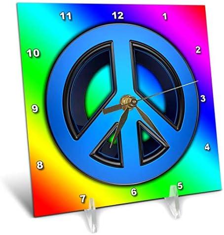 3dRose dc_155150_1 Peace Sign Over Rainbow Background Love Desk Clock, 6 x 6