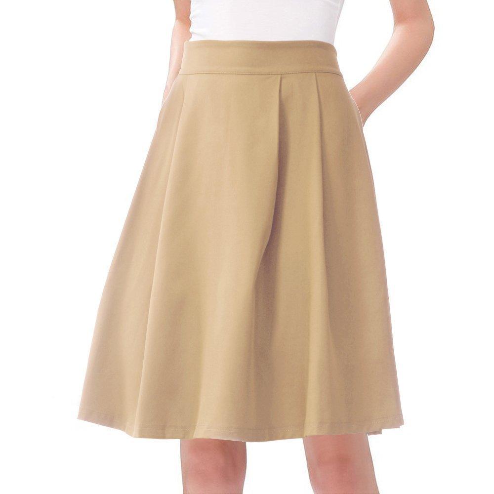 JOAUR Women's High Waist Flared Skirt Pleated Midi Skirt Pocket