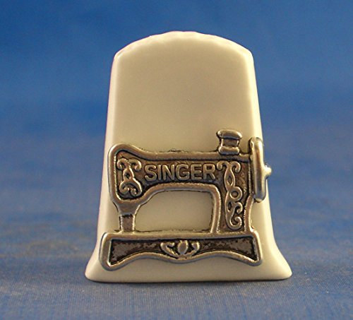 Porcelain China Collectable Thimble -- Antique Silver Singer Sewing Machine with Free Gift Box