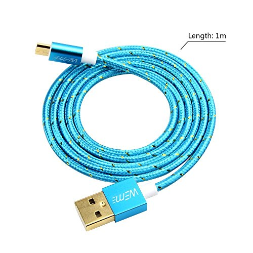 WEme Aluminum Micro USB Cable 1M/3FT, HighSpeed Gold Plated Connector USB 2.0 A Male to Micro B Sync Charge and Data Transfer Cable for Samsung, Nexus, HTC, Motorola, Nokia, Blue