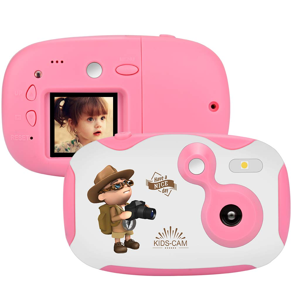 Weton Kids Digital Camera, 1.44 inch Digital Video Camera Creative DIY Camera for Kids with Soft Silicone Protective Shell 1080P HD Sport Learn Mini Camera Camcorder for Boys Girls Gifts (Pink) by Weton (Image #1)