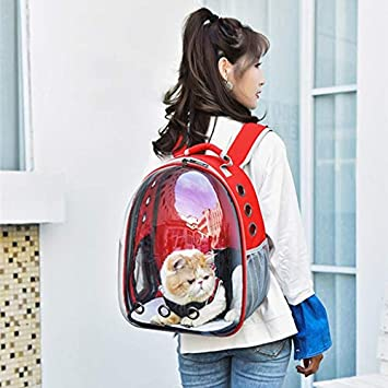 Yeahii Pet Transport Backpack Breathable Transparent Space Capsule Pet Carrier Backpack for Cat Puppy for Travel Outdoor Activity