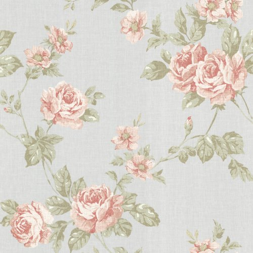 Beacon House 302-66876 Bloom Rose Trail Wallpaper, Pink
