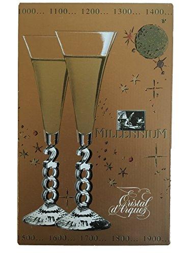 2000 Cristal d'Arques Millennium Champagne set of 2 Glasses in Original - Champagne 2000