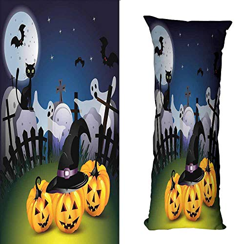 DuckBaby Creative Pillowcase Halloween Funny Cartoon Design with Pumpkins Witches Hat Ghosts Graveyard Full Moon Cat Soft and Durable W16 xL23.5 Multicolor]()