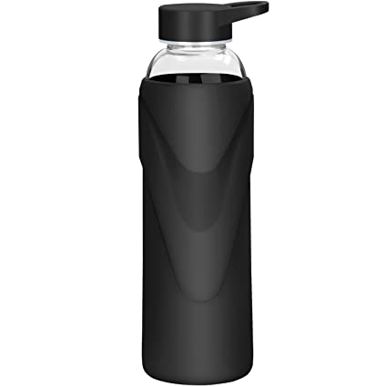 Amazoncom Justfwater Sports Glass Water Bottle with Silicone