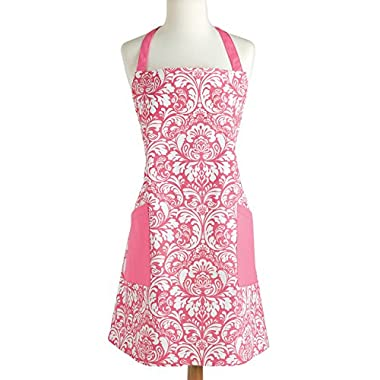 DII 100% Cotton, Fashion Printed Damask Chef Kitchen Apron, Adjustable Neck Strap & Waist Ties, Machine Washable, Front Pockets, Perfect for Cooking, Baking, Barbequing, & More - Pink
