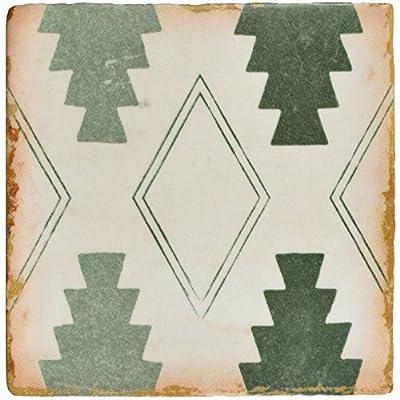 """SomerTile FPEARCAG Modele Ceramic Floor and Wall Tile, 4.875"""" x 4.875"""", Green/Cream/White/Brown"""