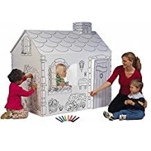 Cottage Playhouse with Washable Markers- Material: Cardboard-Theme: Cottage-Outdoor Use: No- Material: Cardboard- Eco-Friendly: Yes- 3.75 Square foot floor space*