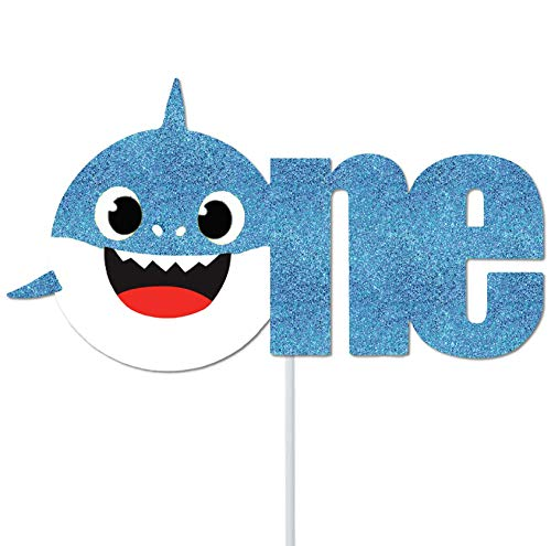 (OMG Party Factory - Baby Shark Cake Topper - 1st Birthday/Baby Shower (Blue))
