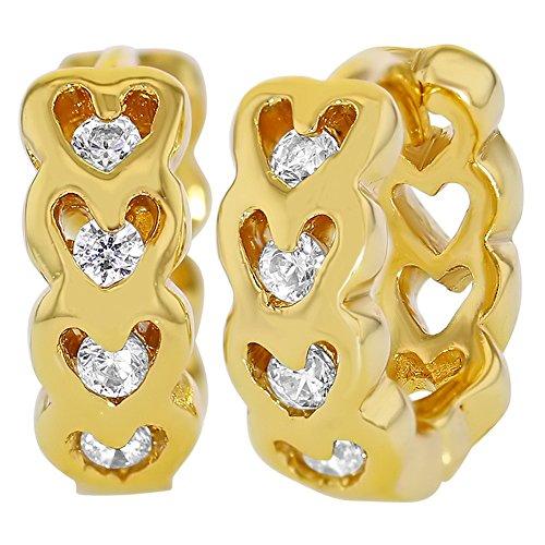 18k Gold Plated Heart Shaped Openwork Clear CZ Huggie Girls Teens Earrings (Openwork Huge)