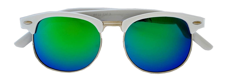 Classic Half Frame Horned Rim Sunglasses Colorful Lens Retro Stylish