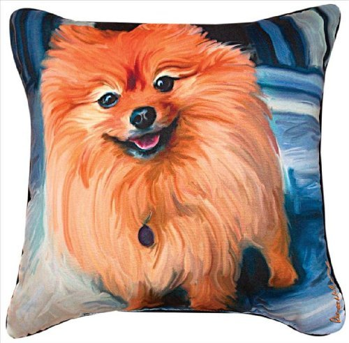 Manual Blue Pom Pomeranian Paws and Whiskers Decorative Square Pillow, 18-Inch [並行輸入品] B07R975WSF