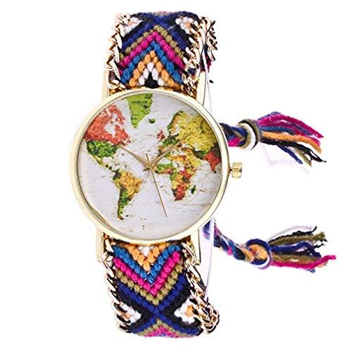 Windoson National Wind Woven Ladies Bracelet Watch Handmade DIY World map Pattern Bracelet Quartz Watch (Blue)