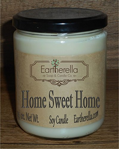 HOME SWEET HOME Natural Soy Wax 14 oz. Jar Candle, 90+ hours, cinnamon clove rose ylang
