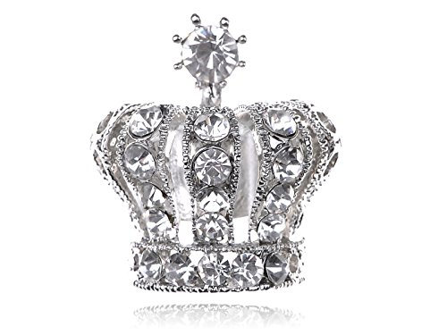 [Alilang Adjustable Silvery Tone Clear Crystal Colored Rhinestones Princess Crown Ring] (Unique Costume Jewelry Rings)