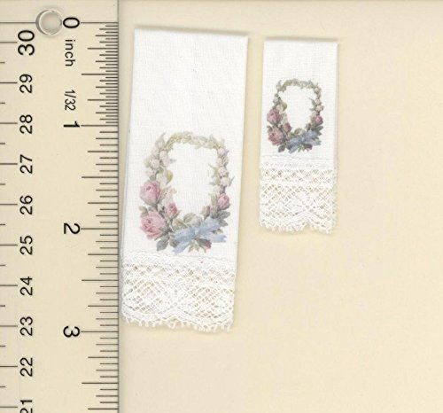 Dollhouse Miniature Set of 2 Hand Towels w/Floral Victorian Swag
