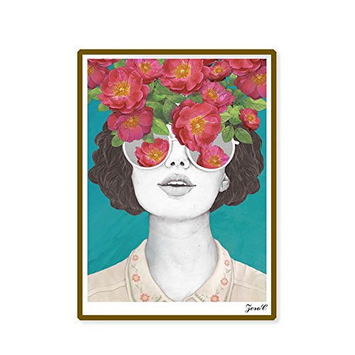 Lightclub Nordic Sunglasses Flower Girl Canvas Frameless Indoor Wall Painting Decoration size 30cm x 40cm