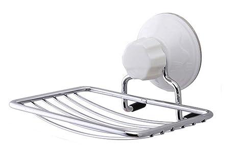 bestwoohome estante jabón de acero inoxidable plato bandeja con ventosa para ducha/baño estante,