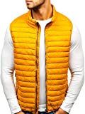 BOLF Men's Plain Gilet Zip Quilted Basic Sport Vest Bodywarmer Training Casual S-WEST 1253 Yellow L [4D4]