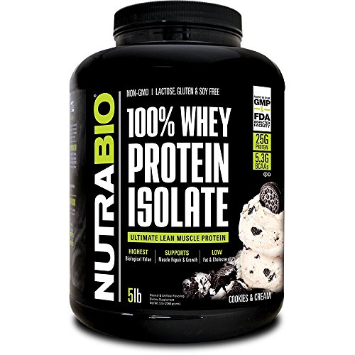 NutraBio 100% Whey Protein Isolate (Cookies and Cream, 5 Pounds) (Cookies Isolate Whey Protein)