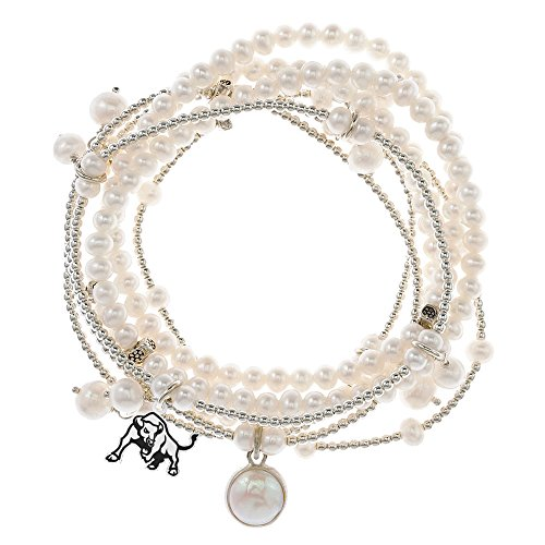 Buffalo Bulls 7 Strand Freshwater Pearl and Silver Bracelet by College Jewelry