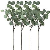 "Winlyn Pack of 4 Artificial Silver Dollar Eucalyptus Bushes in Grey Green 25.5"" Tall x 9.5"" Diameter Artificial Greenery Holiday Greens Faux Silvery Greens Floral Arrangement"