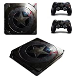 MightyStickers - Captain America Faded Shield PS4 Slim Console Wrap Cover Skins Vinyl Sticker Decal Protective for Sony PlayStation 4 Slim & Controller