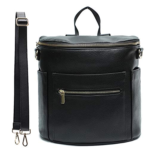 Leather Diaper Bag Backpack Purse by miss fong, Mini Backpack for mom with In bag organizer, Insulated Pocket and Shoulder Strap(Black)