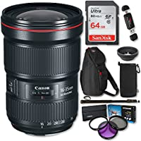 Canon EF 16–35mm f/2.8L III USM Lens, Polaroid 82mm Filter Kit, Ritz Gear Photo Sling Bag, 64GB Memory Card, Monopod and Accessory Bundle