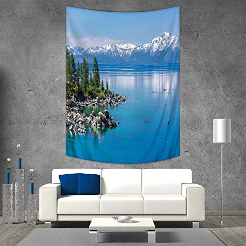 Tapestry Wall Tapestry Blue Waters Lake Tahoe Snowy Mountains Pine Trees Rocks Relax Shore Art Wall Decor 51W x 60L INCH Pale Blue Green Grey ()