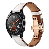 Gold Butterfly Buckle Replacement Leather Watch Bands, Quick Release Watch Strap for Huawei GT Watch 22mm (White)