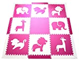 "SoftTiles Safari Animals Premium Interlocking Foam Mat Large Children's Playmat Pink and White 78"" x 78"""