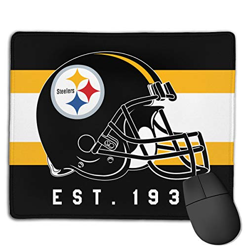 Marrytiny Custom Colourful Mouse Pad Pittsburgh Steelers Football Team Natural Rubber Mousepad Stitched Edges - 7.08x8.6 - Computer Mouse Team