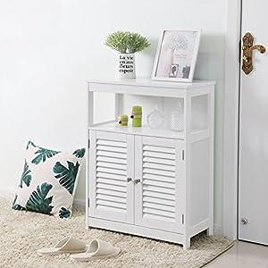 VASAGLE Bathroom Storage Floor Cabinet Free Standing with Double Shutter Door and Adjustable Shelf White UBBC40WT