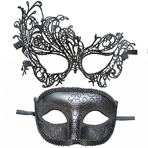 IDOXE Fashion Lace Couple Masquerade Masks Venetian Women Men Mask for Halloween/Party/Ball Prom/Mardi Gras/Wedding/Wall Decoration -