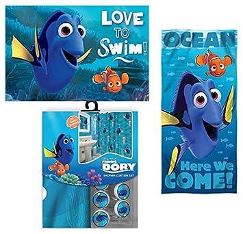 nemo bathroom set. 15pc Disney Finding Nemo  Dory Shower Curtain Bath Towel Foam Mat Hooks Set Amazon com