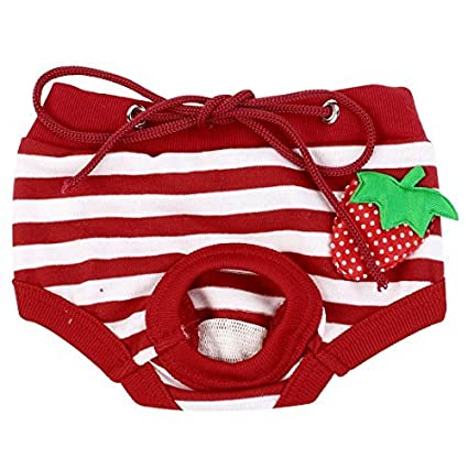 eDealMax rayada Ajustable del perro casero de la Cintura del pañal Pantalones ropa Interior, pequeño