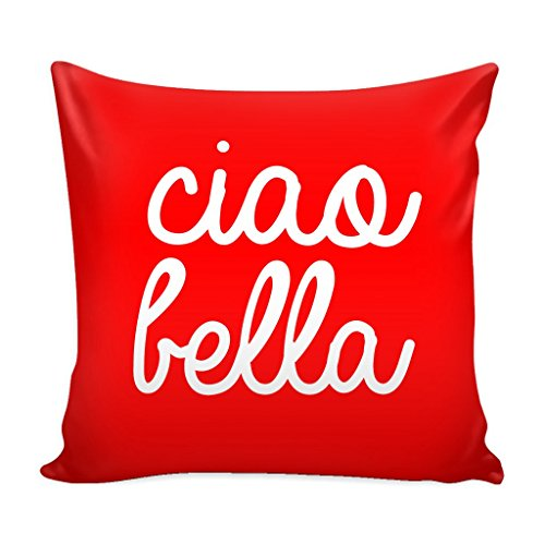 Bella Square Pillow - Italy Throw Pillow Cover with Insert - Ciao Bella Decorative Charming Italian-Themed Designs - Personalized Décor - Square Cushion is Ideal for Chair, Couch, Bed, Sofa, Living Room, Bedroom