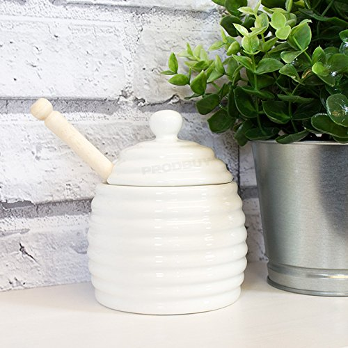 Off White Porcelan Beehive Honey Pot with Wooden Dipper ProdBuy Limited